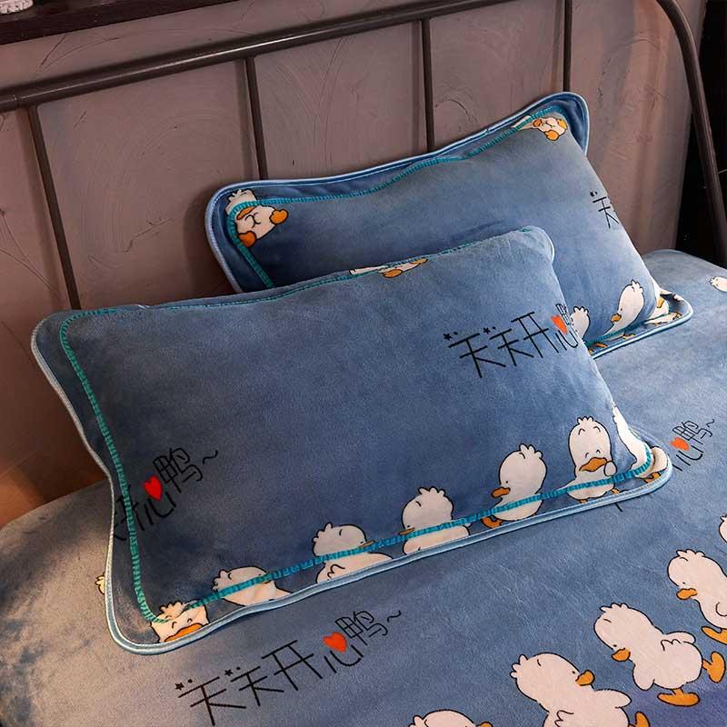 拉链式单枕皮74cm48法兰绒枕套一对装包邮珊瑚绒冬季保暖枕头套