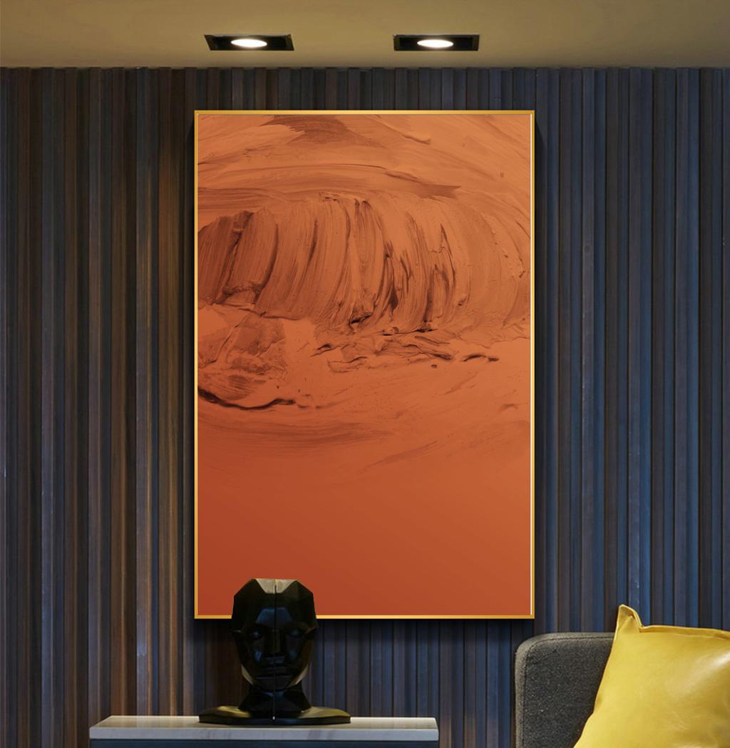 定制純手繪鴻運當頭抽象油畫裝飾新中式簡約輕奢玄關餐廳豎版掛畫