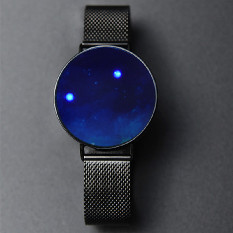 New concept net red personality creativity trendy ultra thin borderless men and women lovers star sky pointer free LED Watch