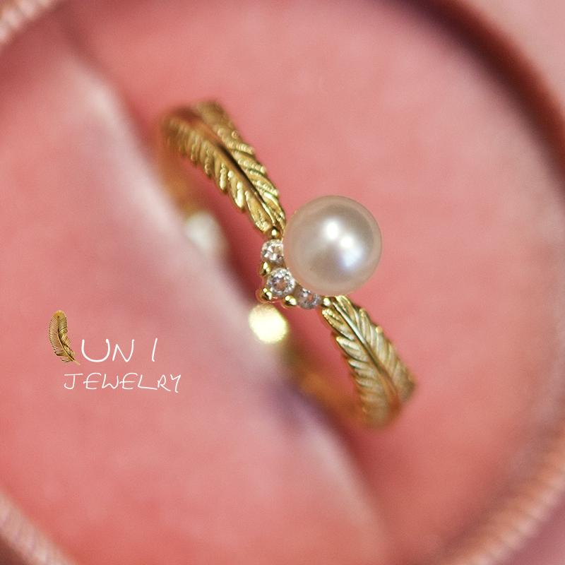 圆小珍珠戒指戒圈调节精银镀金baby店主自留金麦穗天然希腊神话
