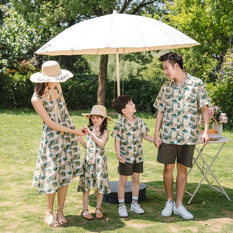 沙滩亲子装三亚度假夏威夷衬衫一家三口洋气母女童吊带露背连衣裙