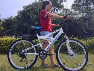 前后双减震带后座人山地自行车男女变速自行车越野山地车学生单车