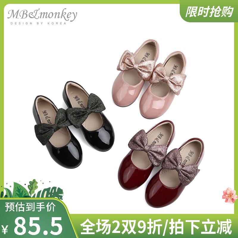 mbmonkey儿童鞋子蝴蝶结2019秋季新款演出表演软底女童公主鞋单鞋