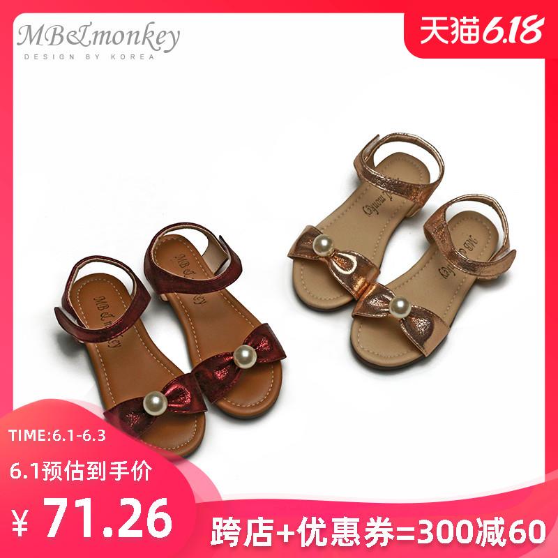 女童鞋子夏季2020新款凉鞋时尚珍珠镶钻女宝宝3-8岁露趾公主鞋