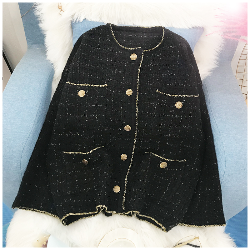 Small fragrant knitted cardigan coat womens Korean version loose lazy Vintage sweater 2019 spring and autumn new medium long