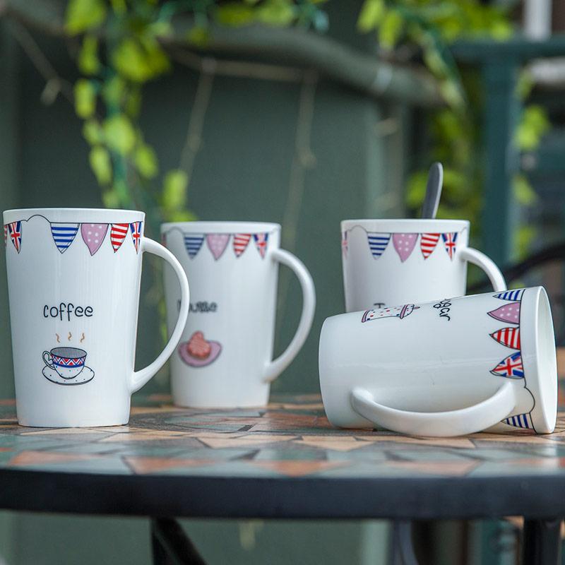 杯子陶瓷卡通帶蓋勺大容量水杯馬克杯咖啡杯牛奶 情侶杯子