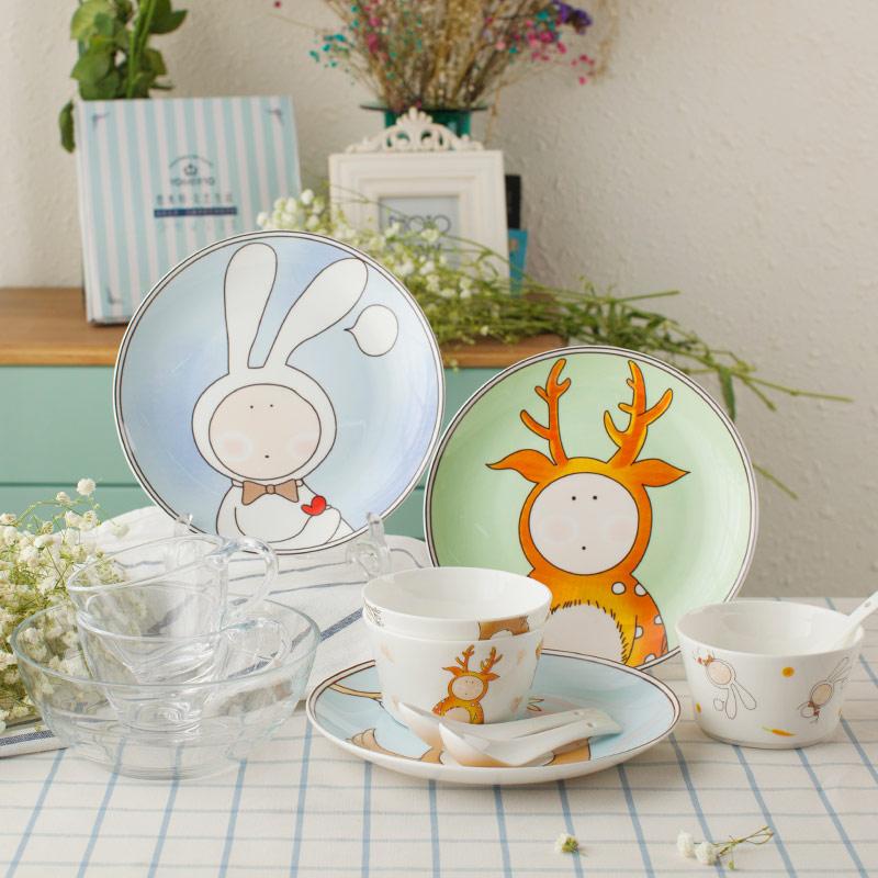 餐具套裝碗盤景德鎮陶瓷器卡通可愛中式家用碗具 碗筷碗碟套裝