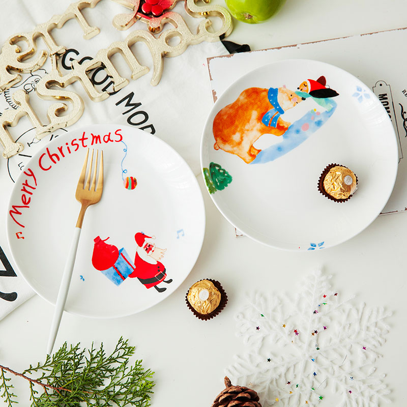 碗碟套裝家用景德鎮陶瓷可愛卡通聖誕送禮二人食情侶碗盤餐具套裝
