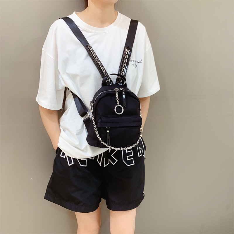 Lolita Lolita bag fashion small backpack womens backpack nylon bag with chain double pull long tail