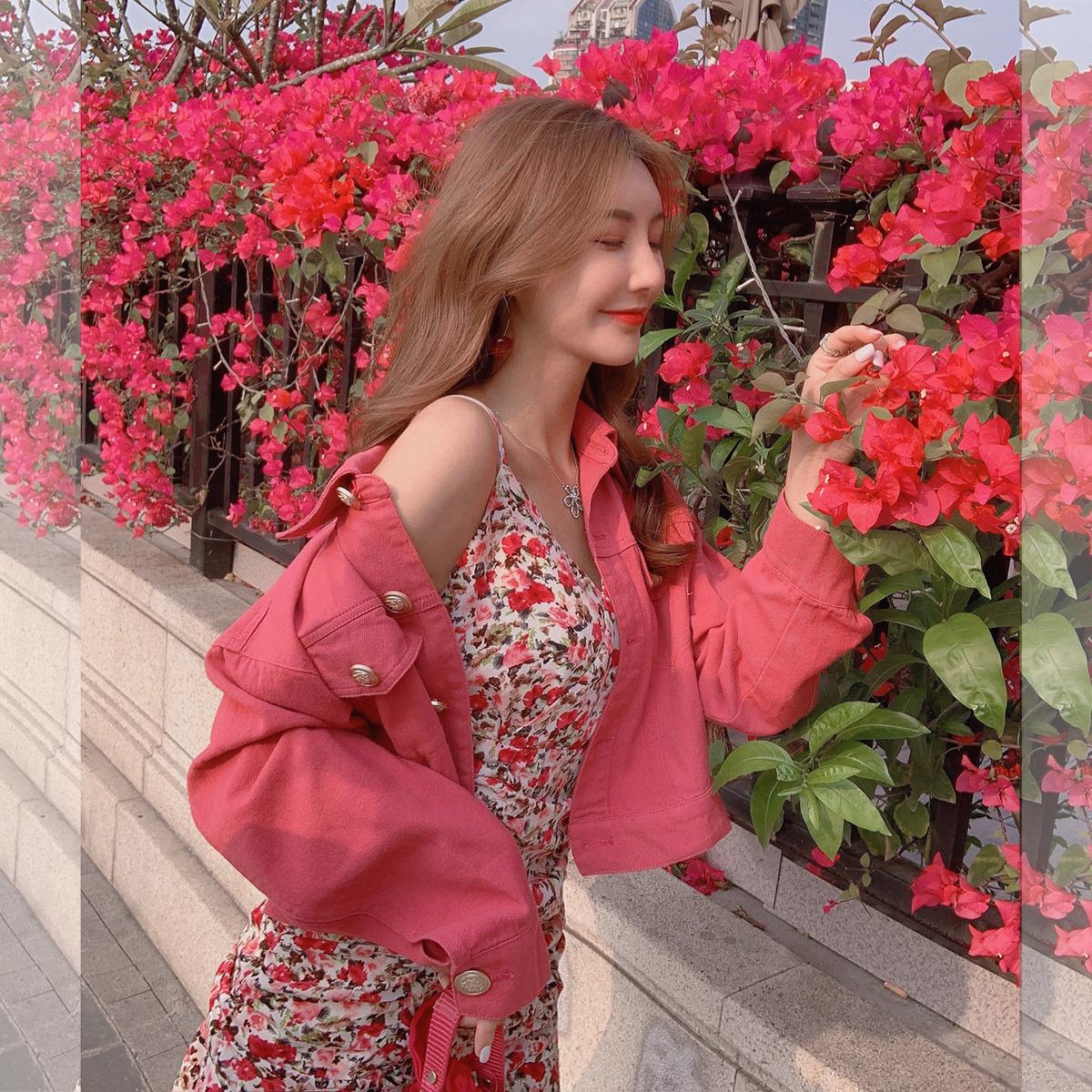 张心子「女团style」2021新款女夏粉色牛仔短外套薄款春休闲百搭