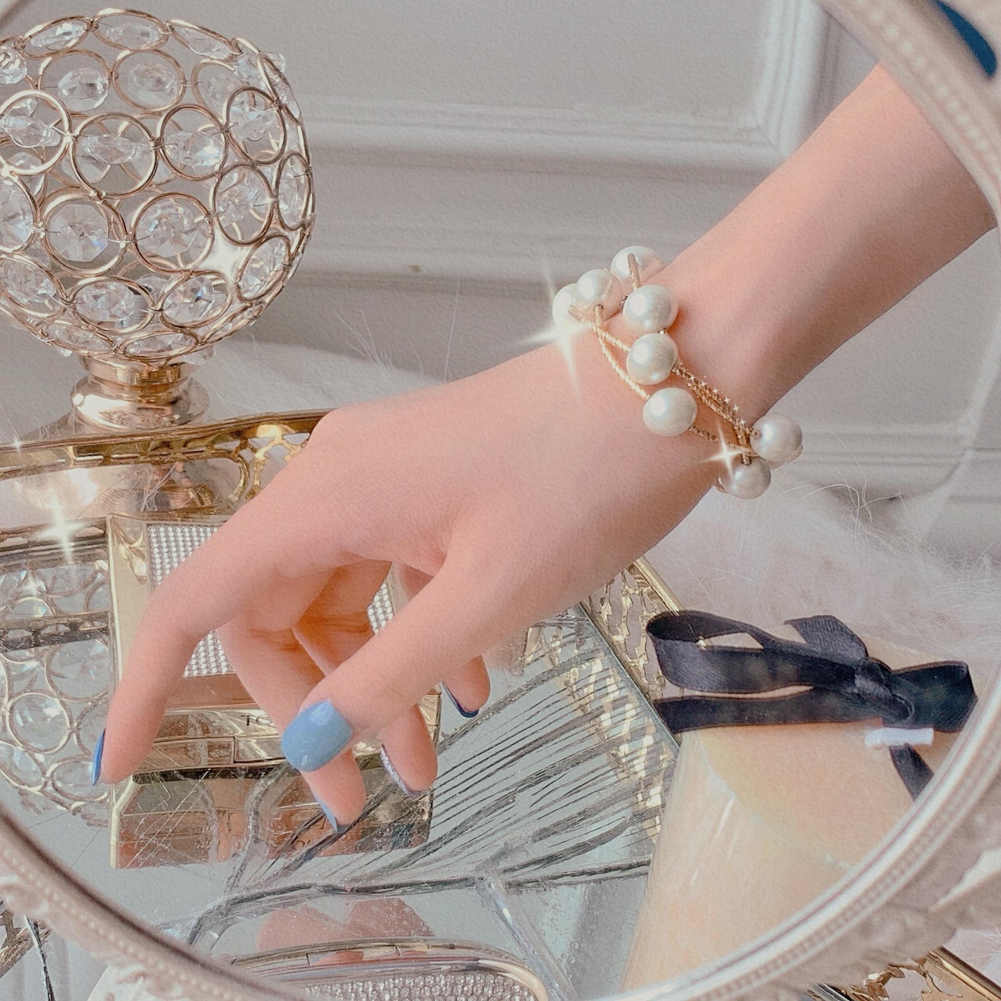 张心子多层缠绕珍珠手链女网红仙女手镯精致ins小众设计手饰手串图片