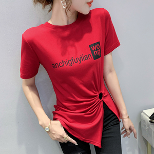 YF52593# 欧货夏新款女圆领不规则开叉短袖T恤女打底衫小衫 服装批发女装直播货源