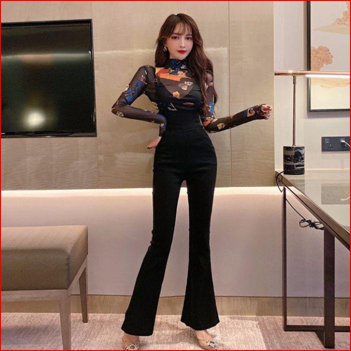 2019秋装新款韩版时尚甜美蕾丝打底衫上衣+背带喇叭长裤 套装6750
