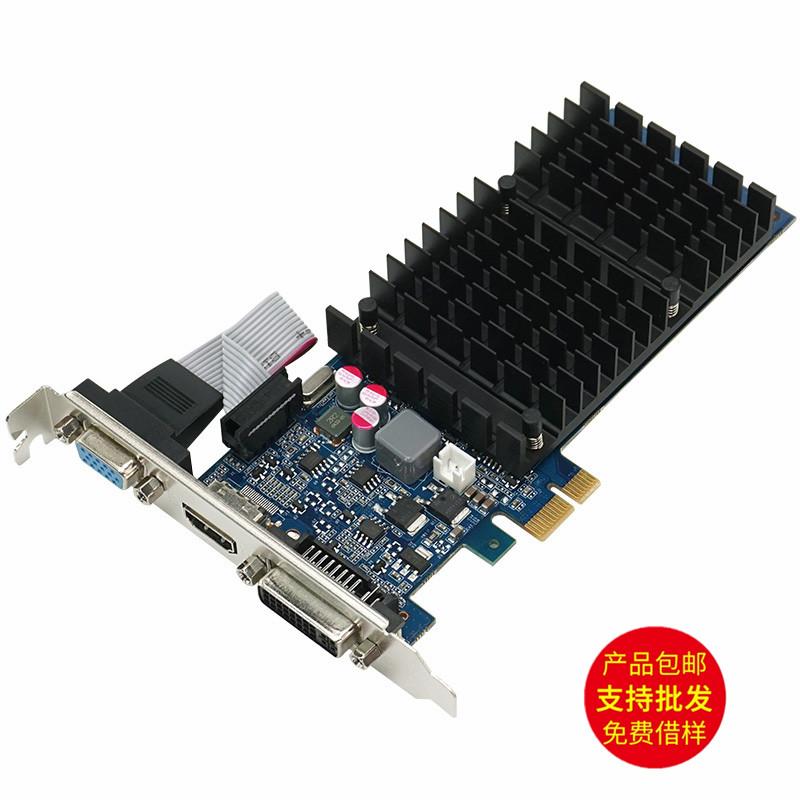 工控显卡 PCI-E x1 半高卡 支持x16 x8 x4 GF210 1G x1双屏显示