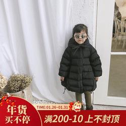 mini旦洋气冬季新款儿童装90白鸭绒羽绒服女童加厚中长款保暖外套