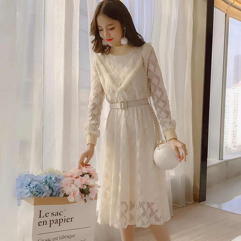 Lady temperament lace dress womens autumn 2019 new small French style retro mid length small fragrant dress