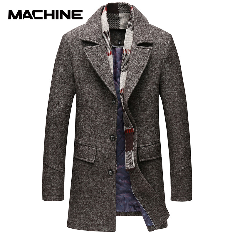 Autumn and winter woolen coat mens Korean fashion mens windbreaker 2020 new woollen coat medium length mens wear