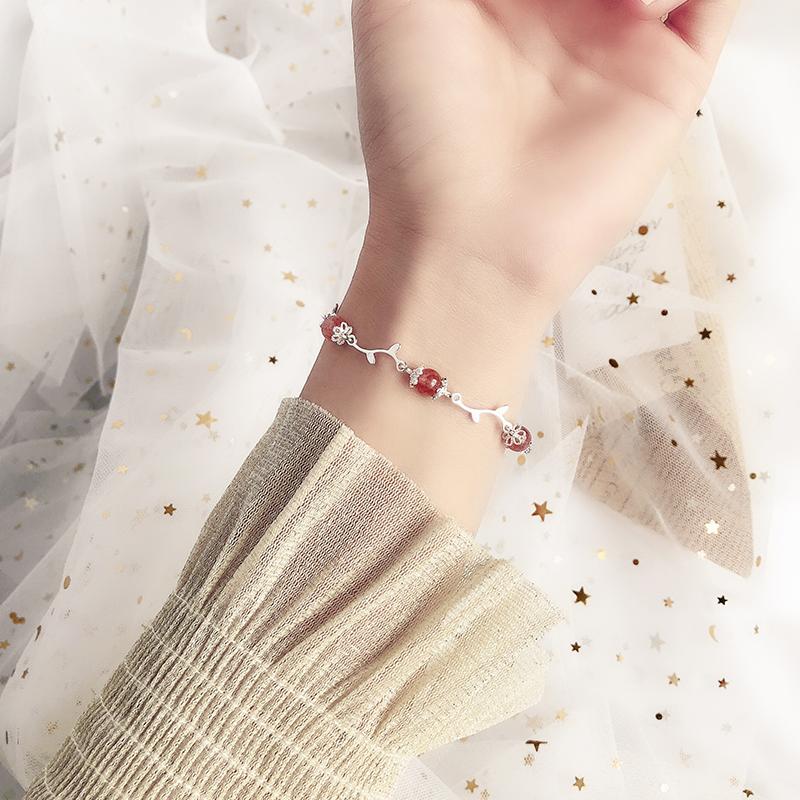 925纯银花枝草莓晶手链森系招桃花手环粉水晶ins情人节生日礼物女