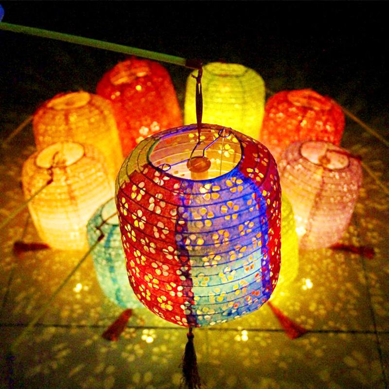 古风纸灯笼中国风折叠挂饰装饰手工中式吊灯镂空发光汉服拍摄道具