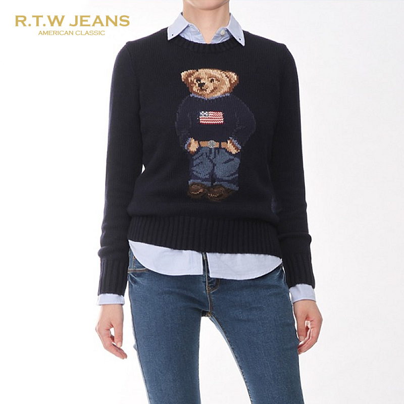 RTW jeans womens spring 20 years new product womens cotton knitted sweater bear pattern RL Lauren sweater