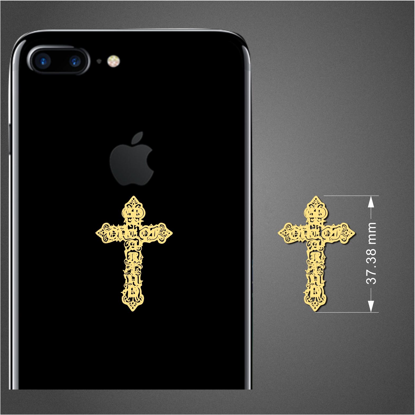 十字架明星金属镀金贴 手机电脑防辐射贴纸通用