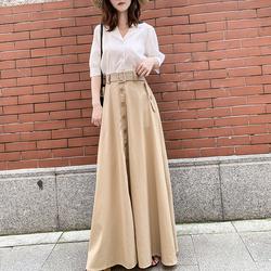 超长半身长裙春秋长款到脚踝高腰a字高个子气质及踝复古大摆伞裙