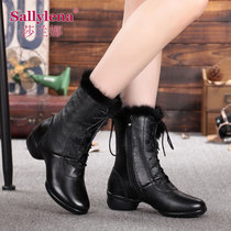 Sarana Winter Dance shoe square dancing shoes woman velvet leather dancing shoes soft bottom with Sailor dance boots