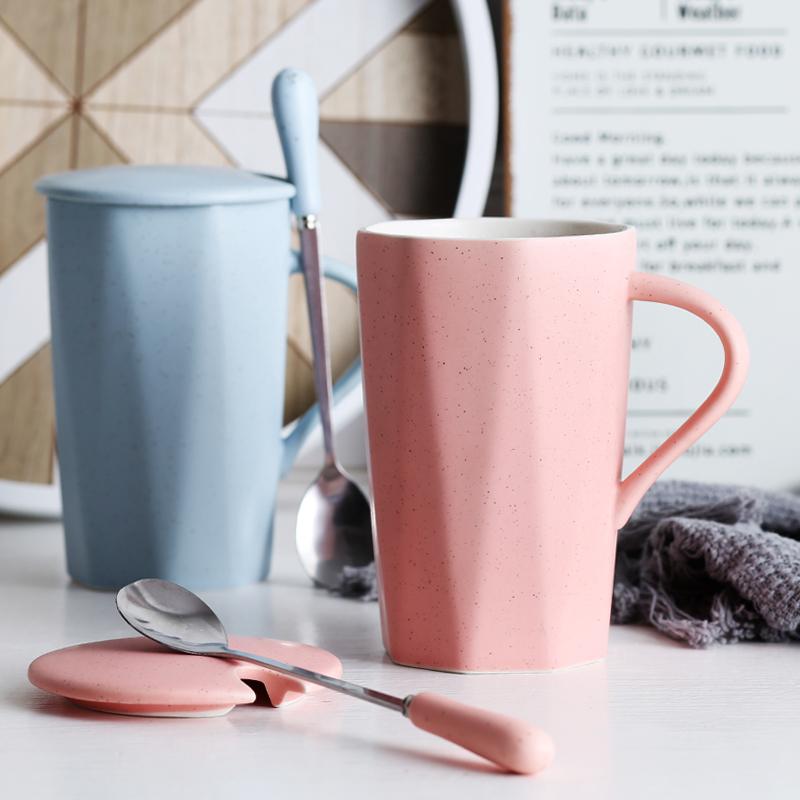 陶瓷杯子个性创意潮流马克杯带盖勺茶杯简约喝水杯家用男女咖啡杯