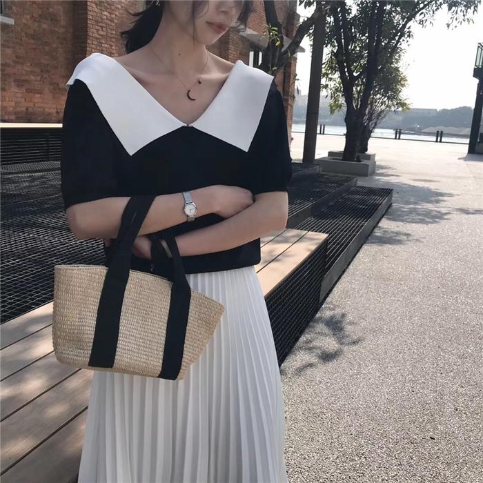 欧洲站女性感冰丝针织衫女露肩上衣2019新款薄款短袖翻领t恤修身