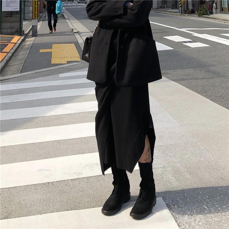不规则设计感拼接中长款半身裙秋冬新款港风暗黑显瘦呢料一步裙