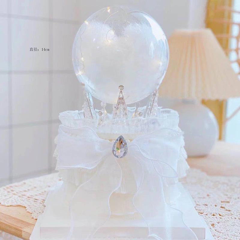 生日蛋糕装饰摆件水晶球三角珍珠皇冠烘焙派对泡泡棉唯美装扮