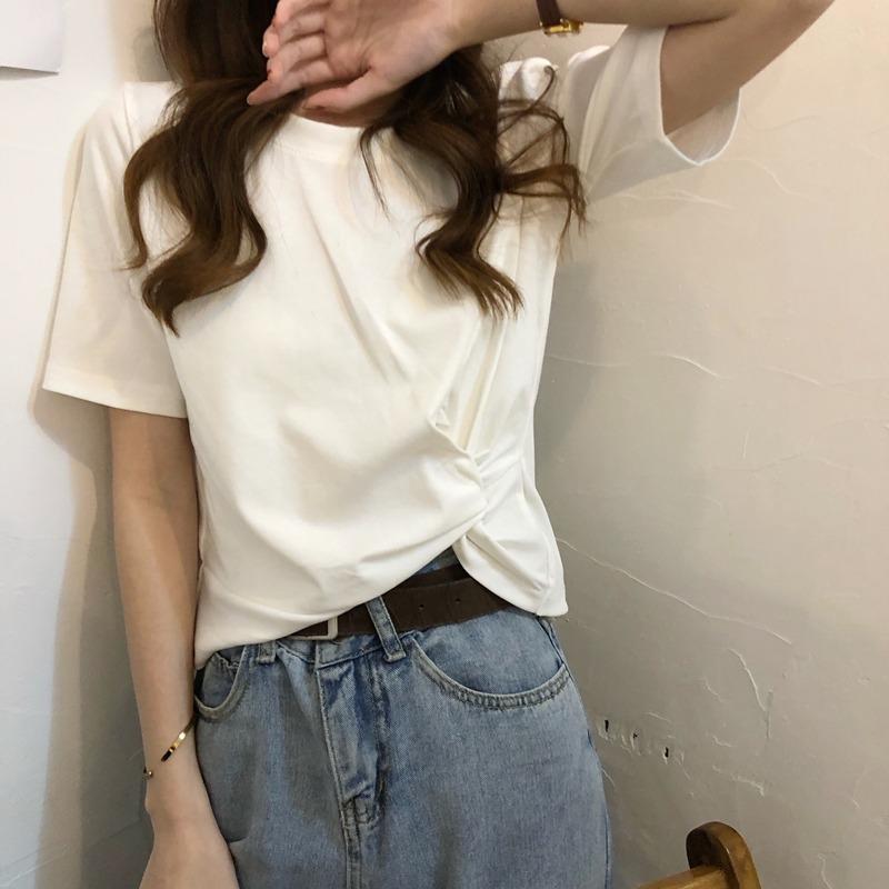 蘑菇MG小象 女装旗舰家短款上衣泫雅风心机短袖T恤网红打底小衫潮
