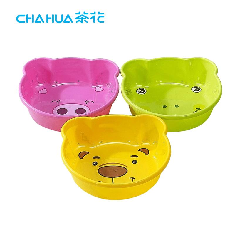 茶花卡通脸盆塑料小号儿童宝宝小面盆新生婴儿洗脚盆洗脸盆可爱
