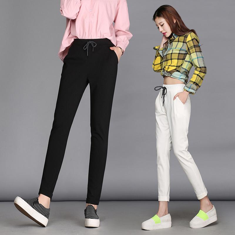 11月08日最新优惠女高腰裤子女卷边萝卜裤小脚哈伦裤