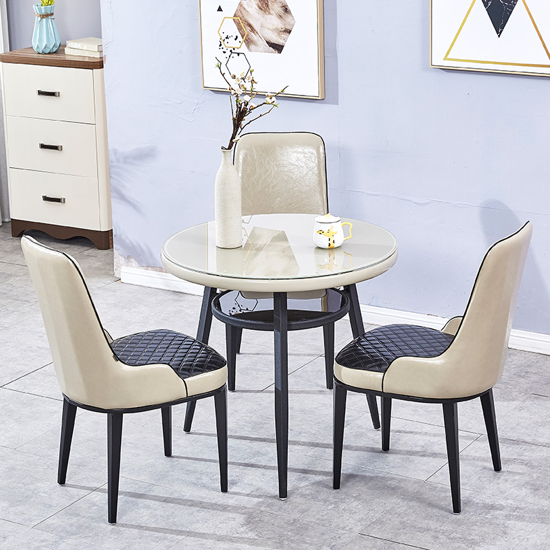 Milk tea shop book bar leisure negotiation table chair combination consulting room simple tempered glass small round table reception tea table