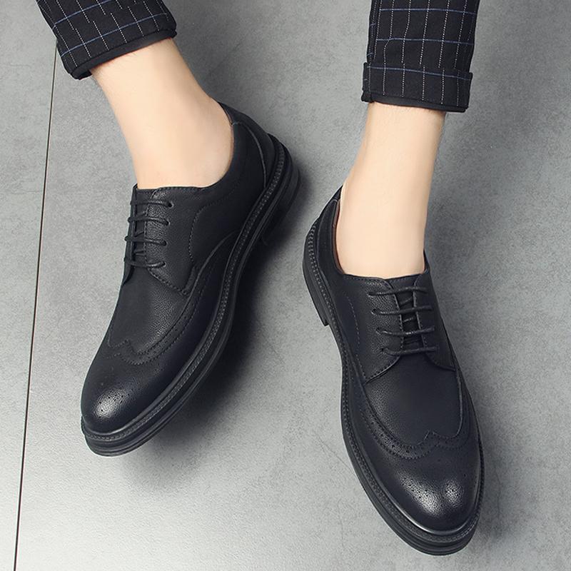 布洛克男鞋韩版尖头婚礼商务正装休闲皮鞋男士真皮英伦增高潮鞋子
