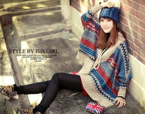 2017 national style computer knitting Cape knitwear horn button bat sleeve sweater cardigan coat