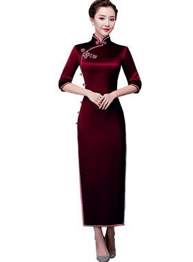 中老年礼服旗袍修身喜婆婆婚庆连衣裙高贵中年妈妈装婚宴中国风