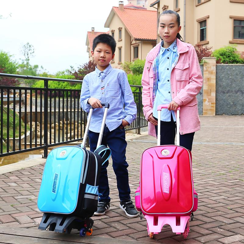拉杆书包小学生6-12周岁男 女儿童3-4-5-六-年级三轮爬梯防水免洗