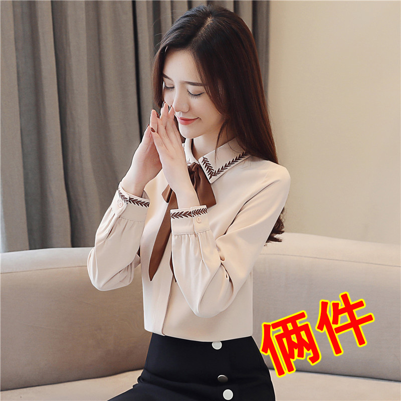 Chiffon shirt womens long sleeves new womens spring dress in 2020 fashion blouse with foreign style and bow top fashion