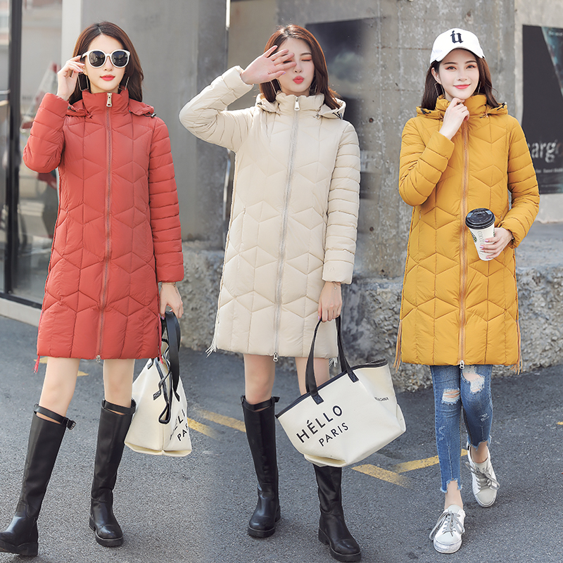Winter cotton padded jacket womens 2019 new large Korean loose medium length cotton padded coat thickened student down jacket