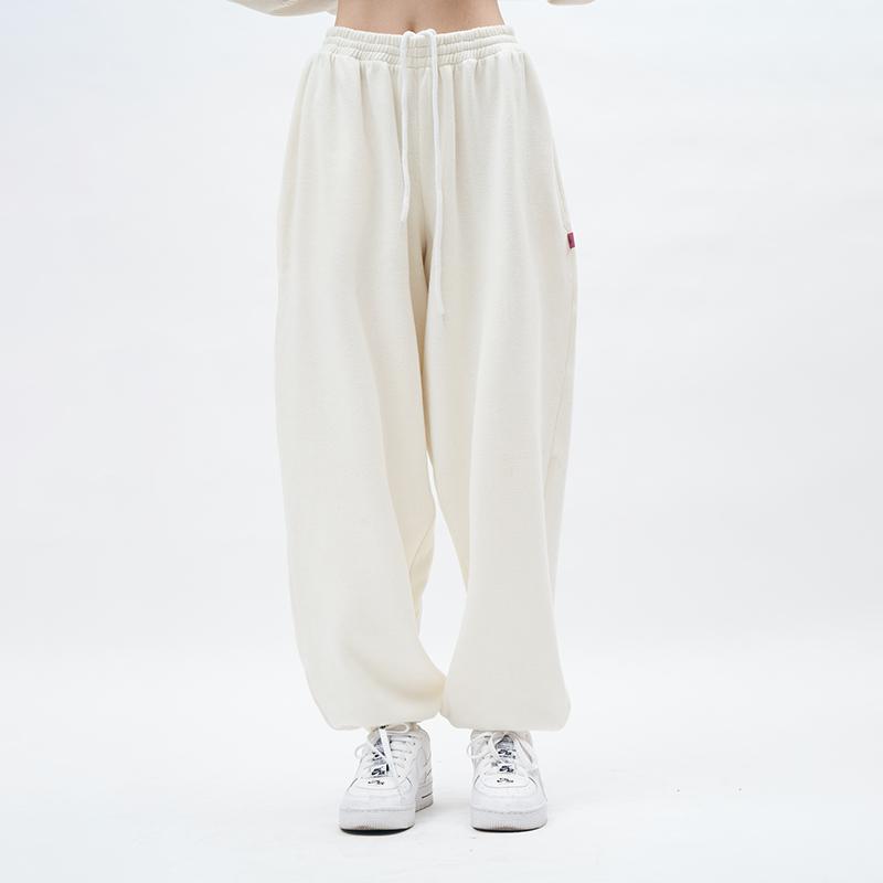 SHAHD 夏日神裤归来!!不加绒款显瘦休闲卫裤宽松运动白色束脚裤
