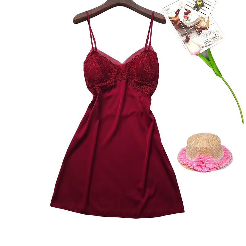 睡衣女夏季吊带冰丝睡裙带胸垫聚拢网纱蕾丝打底裙性感诱惑家居服