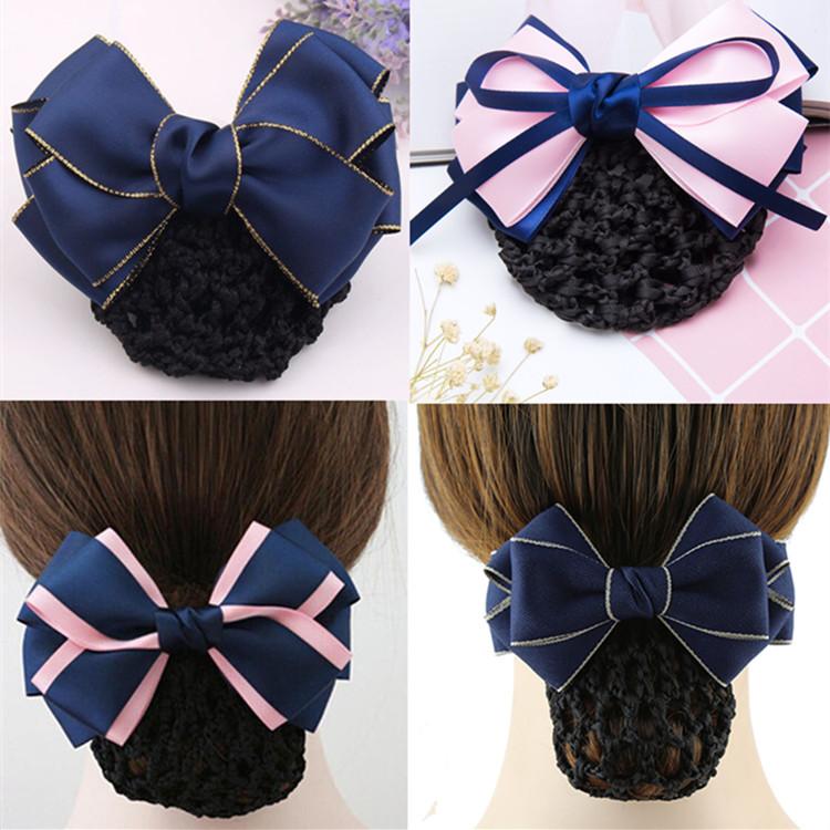 High grade professional headdress bank dish hair work hairnet bow hairpin Hotel stewardess nurse headdress