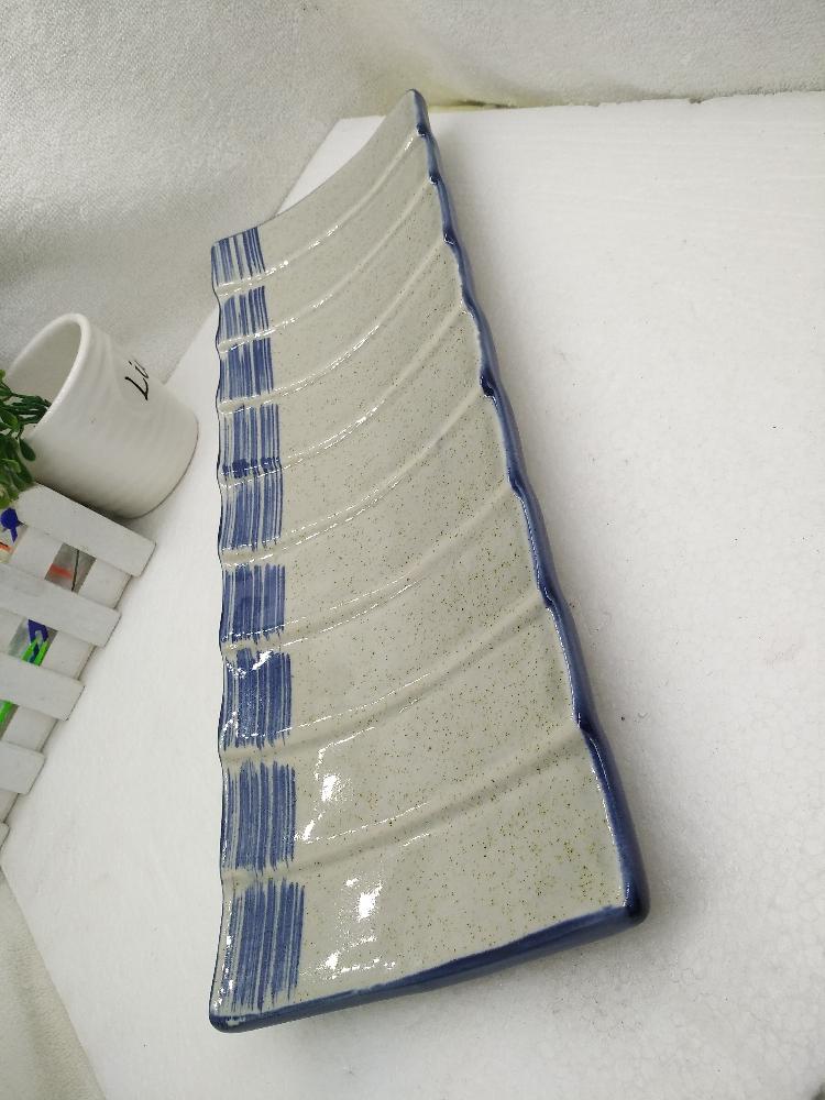 陶瓷餐具长条盘 竹纹盘青花长方盘16寸创意盘复古日式料理碟 饭店