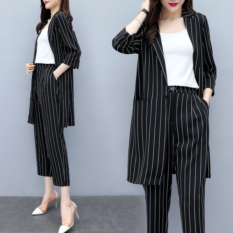 2020韩版显瘦大码条纹优雅西装外套女夏薄款时尚九分哈伦裤两件套