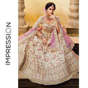 印度特色女士婚礼礼服奶白色重工刺绣乔其纱楞哈三件套定做包邮