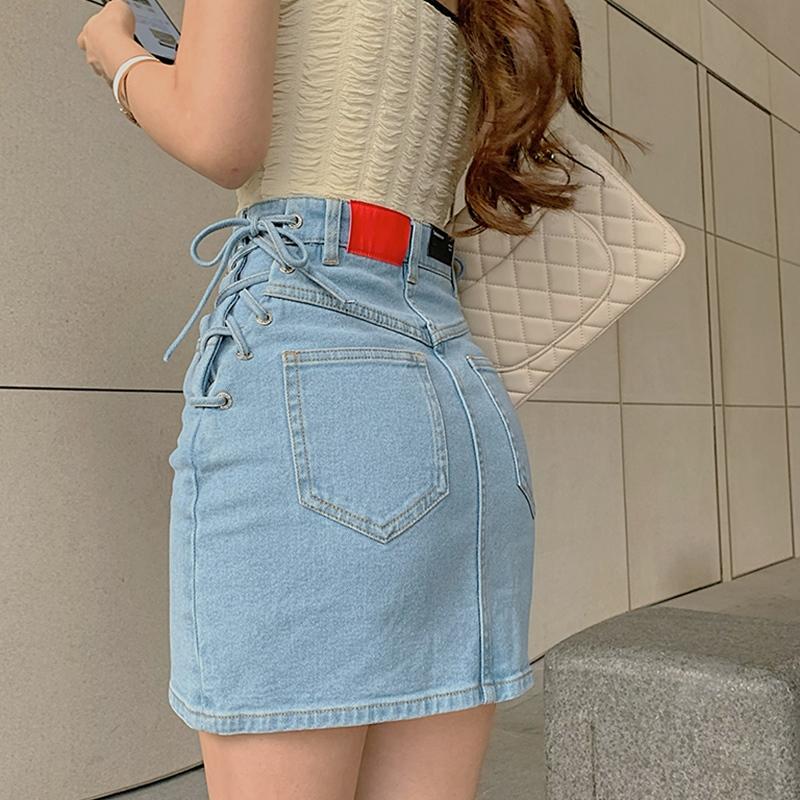 momoshero半身裙女小刀夏季新款蝴蝶结绑带牛仔高腰包臀短裙同款