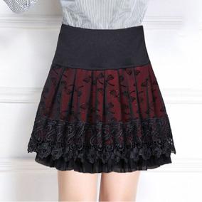 妈妈秋冬中老年高腰显瘦蕾丝半身裙