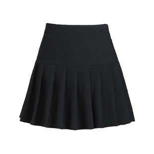 女短裙秋冬半身裙黑色百褶裙新款防走光大碼高腰a字顯瘦打底厚款